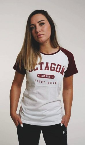 "T-shirt damski Octagon ""FIGHT WEAR EST2010"" reglan burgundowy"