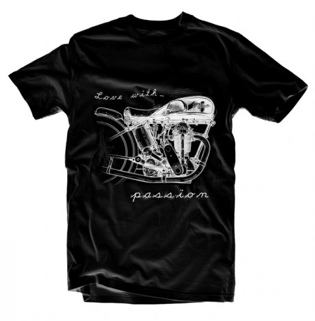 T-shirt Moto Love with passion czarny