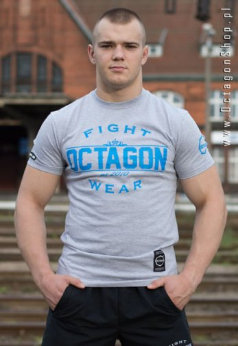T-shirt Octagon Basic Fight Wear szary z niebieskim