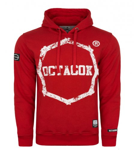 Bluza Octagon Logo Smash red z kapturem