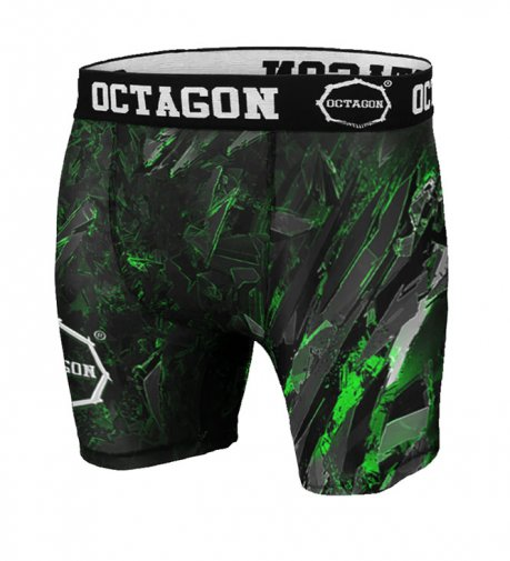 Spodenki kompresyjne Octagon Abstract Green