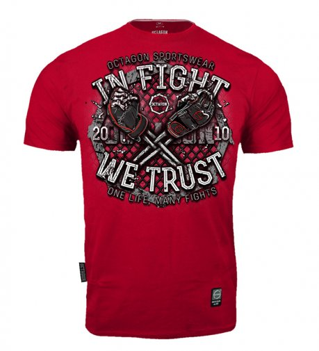 T-shirt Octagon In Fight We Trust bloody red